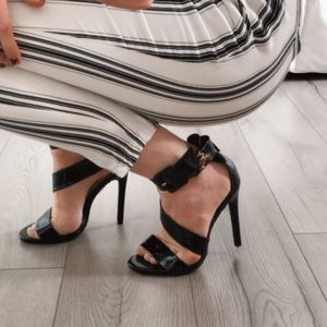 Call It Spring Shiny Black Strappy Heels